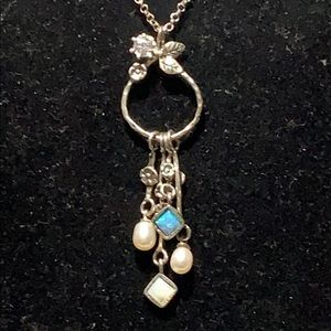 925 NECKLACE W/ PEARLS, OPAL & MOTHER OF PEARL